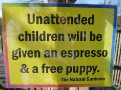 Unattended Children Business Sign