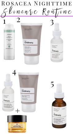 How to Create a Nighttimetime Skincare Routine for Rosacea, Sensitive, Dry skin and anti-aging with the Ordinary skincare. #organicskincare