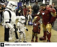 And the best dad award goes to.... - crazy pics / iron man vs jedi knight, marvel comic, cosplay humor