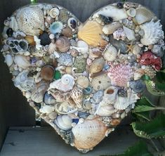 Natural Seashell Heart, Hanging Shell Decorated Heart with various Natural Colored Seashells, Bits of Coral, Barnacles, Seaglass - product images  of #loving #coastal #living