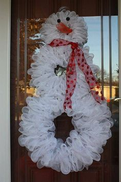 Snowman Deco Mesh Wreath by ADOORableCreation on Etsy, $59.00