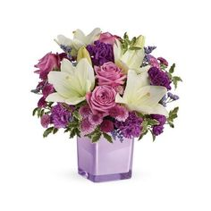 Purple Paradise Flower Bouquet ($40) ❤ liked on Polyvore featuring home, home decor, floral decor, lavender rose, purple flower, purple rose, purple home decor, purple rose bouquet, rose flower bouquet and white lily bouquet