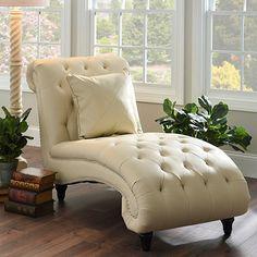 Cream Leather Chaise Lounge   Kirklands