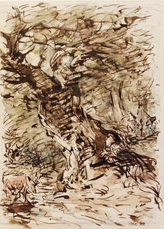 John Constable, Jaques and the wounded stag, Great Britain, about 1834-36, Pen and bistre and watercolour, Museum no. 795-1888