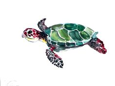 Sea Turtle original watercolor painting 9 X 12 in by ORIGINALONLY, $27.00 - inspiration for a tattoo! It's a cute little turtle!