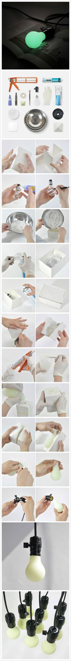 DIY Luminous Bulb. You Need: Silica gel gun, glass glue, glue, knife, luminous pigment, light bulb, bulb base, spoon, nitrile gloves, release agent, stirring cup, PVC plate (1 mm), bowl, wire and gypsum powder. Make a cube mold with PVC plate. Draw a line in the middle of the light bulb. Filled with gypsum in the mold. Spraying the bulb release agent, and then put bulb in the mold. Spray release agent, and then fill the gypsum.