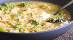 The tastiest five ingredient chicken soup you'll ever try! This cheesy chicken and broccoli soup comes together in literally ten minutes and is a definite crowd pleaser for the whole family!