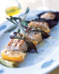 Swordfish Kebabs with Lemon and Bay Leaves Recipe from Food & Wine
