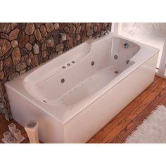 "Atlantis Eros 60"" x 36"" Rectangular White Acrylic Air & Whirlpool Combo Bathtub, Right Drain (3660EDR)"