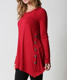 Another great find on #zulily! Red Side-Button Tunic - Plus #zulilyfinds