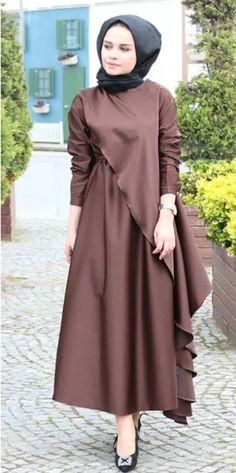 Clsema Kahve Elbise – Fashion and Street Styles on Internet Abaya Fashion, Muslim Fashion, Modest Fashion, Fashion Dresses, Modest Dresses, Modest Outfits, Casual Dresses, Estilo Abaya, Hijab Dress Party