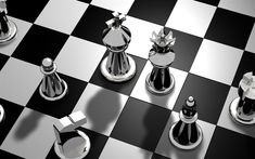 Download wallpapers chessboard, 3d metal chess, chess pieces, black and white