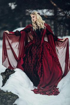 Love the idea of a sheer red cape like this over a more classic ivory or cream wedding gown. Also not opposed to a red wedding gown New! Gothic Sleeping Beauty or Medieval Fantasy Gown Custom Moda Medieval, Medieval Dress, Medieval Fantasy, Medieval Gothic, Victorian Gothic Fashion, Victorian Gothic Wedding, Renaissance Gown, Medieval Wedding, Robes Disney