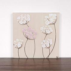 Small Nursery Art - Khaki Painting of Flowers - Textured Acrylic Canvas Art - Pink and Khaki Decor