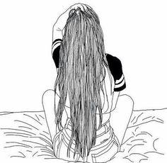 grafika girl, outline, and hair Tumblr Outline, Outline Art, Outline Drawings, Cool Drawings, Drawing Sketches, Sketching, Tumblr Girl Drawing, Tumblr Drawings, Tumblr Sketches