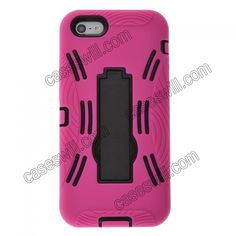 Detachable Double Color Hard and Silicone Case Cover for iPhone 5 With Stand - Rose Black US$5.39