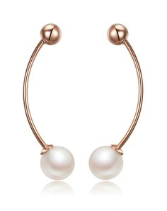 #VIPme Rose Gold 925 Sterling Silver Beauty of Balance Pearl Stud Earring ❤️ Get more outfit ideas and style inspiration from fashion designers at VIPme.com.