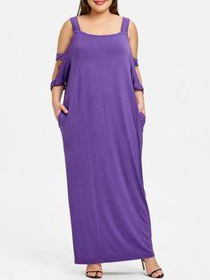 Cold Shoulder Plus Size Long Dress - PURPLE 3XL