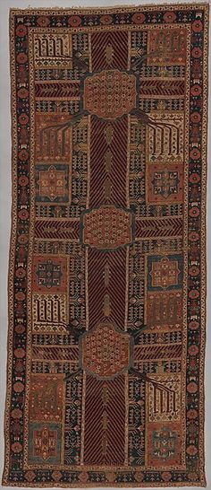 Garden Carpet (Object Name: Carpet Date: ca. 1800 Geography: Northwestern Iran or Kurdistan Culture: Islamic Medium: Cotton (warp and weft), wool (pile); symmetrically knotted pile Dimensions: Rug: H. 223 1/2 in. (567.7 cm) W. 95 in. (241.3 cm) Classification: Textiles-Rugs Credit Line: Gift of William R. Pickering, 1967)