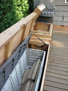 built in outdoor furniture | Built - in bench with storage
