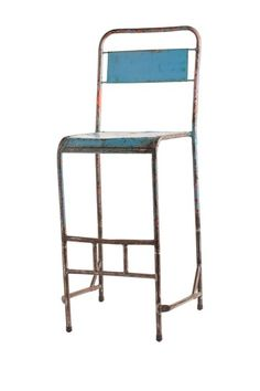vintage blue metal high stool