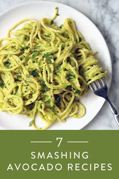 7 Smashing Avocado Recipes, spaghetti w/avocado sauce, avocado hummus, avocado egg boat, avocado & apple smoothie, creamy avocado dressing, avocado chocolate chip cookies, avocado mash on toast