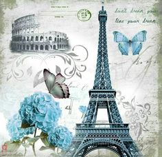 Find images and videos about vintage, flowers and wallpaper on We Heart It - the app to get lost in what you love. Decoupage Vintage, Decoupage Paper, Vintage Paper, Paris Kunst, Paris Art, Vintage Pictures, Vintage Images, Art Parisien, Torre Eiffel Paris