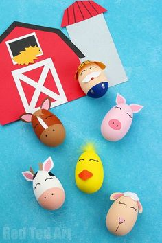 MacDonald Had a Farm Egg Decorating Ideas! A fantastic Egg Decorating idea for Preschool - bring this classic Nursery Rhyme to life with these Farm Yard DIY Eggs. Also a great theme for a School Egg Decorating Competition! Diy Craft Projects, Crafts For Kids, Craft Ideas, Decor Ideas, Entryway Ideas, Easter Egg Designs, Easter Egg Crafts, Diy Ostern, Coloring Easter Eggs