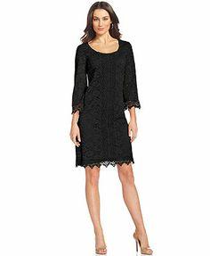 Like best in gallery pink.  Alfani Three-Quarter-Sleeve Lace Sheath Dress