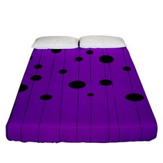 Two tone purple with black strings and ovals, dots. Geometric pattern Fitted Sheet (Queen Size) Bed Sizes, Queen Size, Creative Design, Duvet Covers, Ottoman, Bedding, Outdoor Blanket, Dots, Pillows