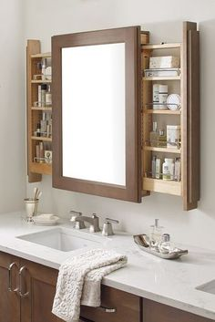 The Vanity Mirror Cabinet with Side pullouts is a bathroom storage innovation, assisting morning multi-taskers by keeping the mirror front-and-center.