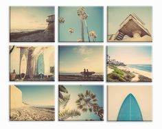 Surf Beach Themed Fine Art Photography Set of 9 on Stretched Canvas, beach photos, , yellow, turquoise, sunset, retro, vintage surf home decor, beach wall art. This listing is for a set to 9 Stretched Canvases Ready to hang in whatever size you choose from the drop down menu. They are each Mounted on a .75 inch wood Stretcher frame and are printed on 430gsm poly-cotton blend canvas are museum quality and archival for more than 100 years. They come with a wire hanger attached ready to…
