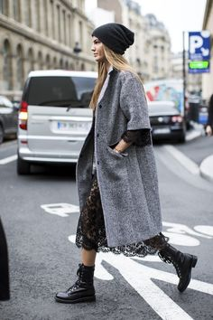 Bianca Brandolini D'Adda in a beanie hat, lace dress & combat boots #streetstyle #paris #style #fashion