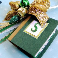 Team Colors Mini Book Ornament - Green White and Gold - Notre Dame - University of Iowa by AmbJewelry, $10.00
