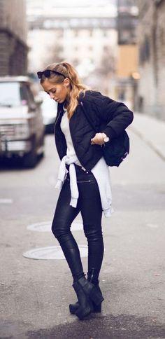 #winter #fashion / black coat + white knit + leather