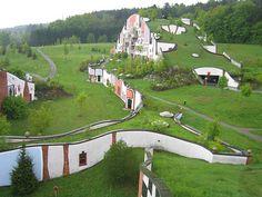 Hundertwasser - Bad Blumau The last grand vision realized by architect Friedensreich Hundertwasser (1928-2000), a Rogner spa in Bad Blumau, far eastern Austria.