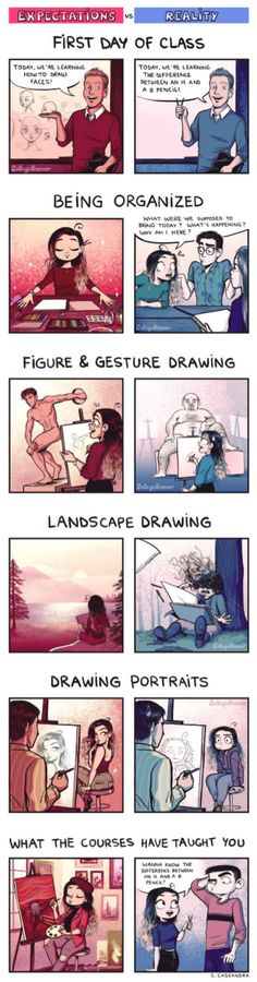 Drawing Courses: Expectations VS Reality this is real. Its all true XD Funny Cute, The Funny, Hilarious, Cute Comics, Funny Comics, C Cassandra Comics, Cassandra Calin, Rage Comic, 4 Panel Life