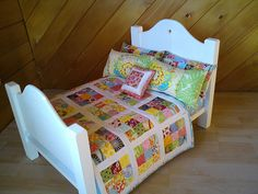 This is the doll bed my clever dad made for my youngest daughter, and the scrappy quilt and pillows I made for it. Doll Furniture, Dollhouse Furniture, Kids Furniture, Furniture Vintage, Small Quilts, Mini Quilts, Doll Crafts, Diy Doll, Quilt Bedding