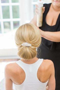 Low Bun Wedding Hair, Bridal Hair Buns, Wedding Hairstyles With Veil, Bridal Comb, Wedding Hair And Makeup, Up Hairstyles, Sleek Wedding Updo, Wedding Hair Updo With Veil, Classic Wedding Hair