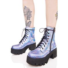 Current Mood Opalescent Odyssey Boots (115 CAD) ❤ liked on Polyvore featuring shoes, boots, holographic, laced shoes, holographic boots, lace up boots, shiny boots and lacing boots