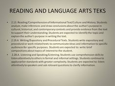 READING AND LANGUAGE ARTS TEKS