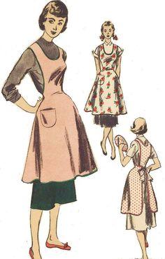 1940s Advance Sewing Pattern 5727 Womens Pinafore Apron and Potholder Size 17 Bust 35 UnPrinted Pattern