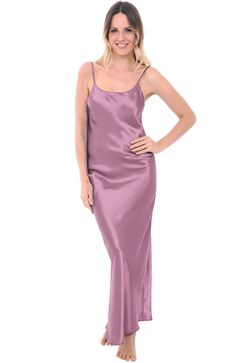 Del Rossa Women's Satin Nightgown, Full Length Camisole Chemise, Medium Wisteria (A0778WSTMD)