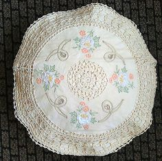 A pair of 16 in round crochet cushion cover with beautiful embroidery