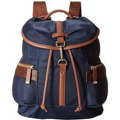 Calvin Klein Nylon Backpack (Navy) Backpack Bags ($178) ❤ liked on Polyvore featuring bags, backpacks, draw string bag, flap backpack, day pack backpack, navy backpack and calvin klein