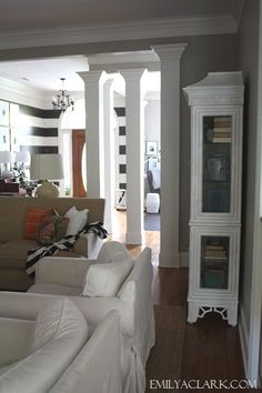 Make the weird column/room divider thingymajig separating the family room and kitchen look like pillars like these. Living Room Bedroom, Living Room Furniture, Bedroom Decor, Living Rooms, Striped Walls, White Walls, European House, Living Styles, Home Projects
