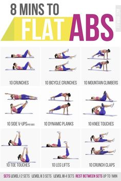 8 Minute Abs Workout Poster for Women. #AbsWorkout #exercise #fitness                                                                                                                                                                                 More