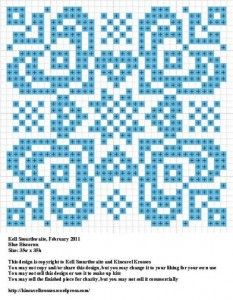 Cross-stitch pattern that could become so many things. A miniature quilt comes to mind.