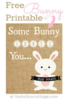 "Sweet Free Printable. No-Mess Burlap ""Some Bunny Loves You This Much"". Perfect for Easter, Spring, Bunny Lovers and Baby Nurseries. Affordable Wall Art/Home Decor or as a DIY Gift. Just Print and Frame."