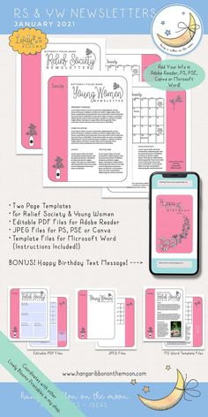 Happy Birthday Text Message, Mutual Activities, Newsletter Template Free, Printable Banner, Relief Society, Text Messages, Lds, Young Women
